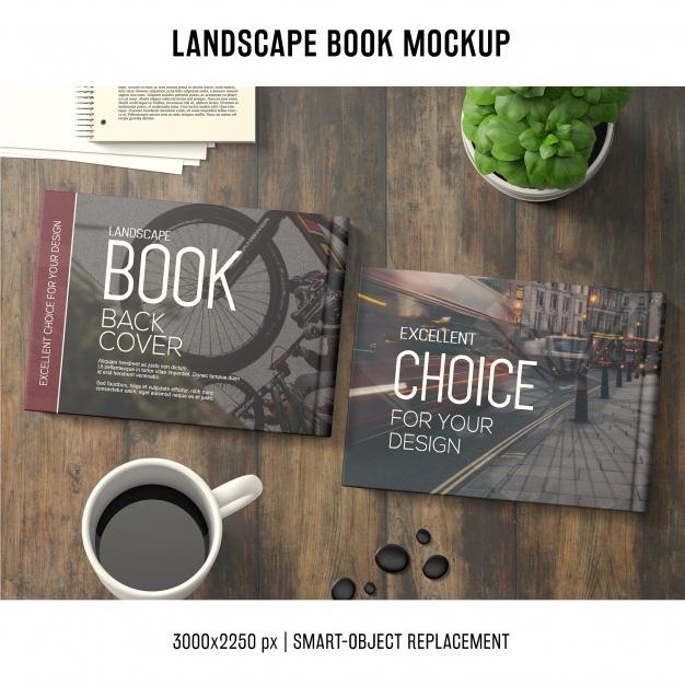 Lanscape book mockup Free Psd