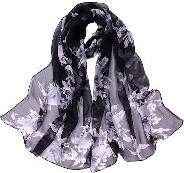Flower Print Black Chiffon Scarves Shawls