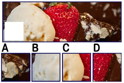 Figure: In need of a compliment? You're the chocolate to my strawberry! Which square fits here?