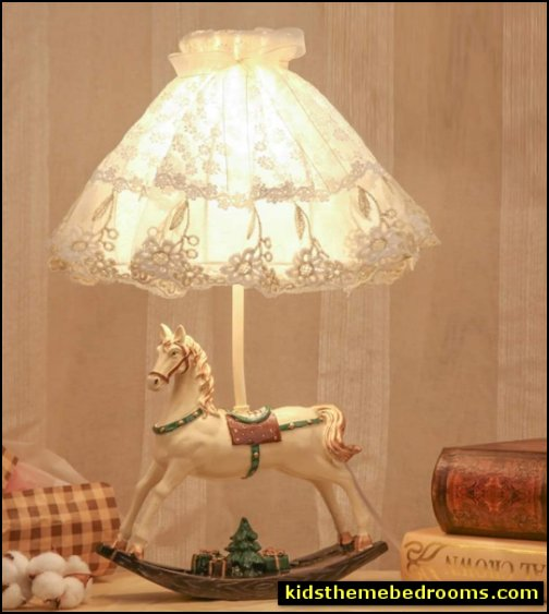 Rocking horse Lace Table Lamp victorian bedroom decor