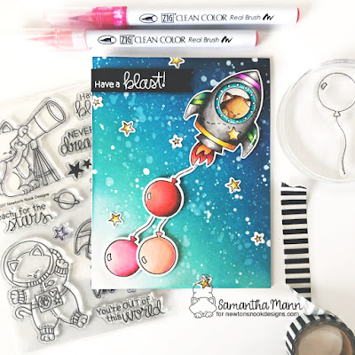 Have a Blast Birthday Card by Samantha Mann for Newton's Nook Designs, Birthday Card, Cards, Handmade Cards, Distress Inks, Ink Blending, Stars, Space, Rocket, Die Cuts, #distressinks #inkblending #cards #handmadecards #newtonsnook