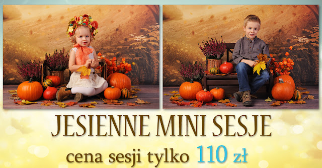 dziecięca sesja jesienna w studio w Lublinie sesja z dyniami liśćmi na jesiennym tle