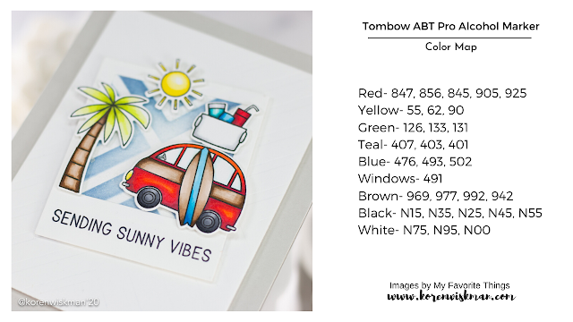 palm tree, car, surboard, cooler, sun, stamps, dies, my favorite things, sending sunny vibes, beach, summer, crafty, card making, ink blending, die cutting, red, blue, green, yellow, white, gray