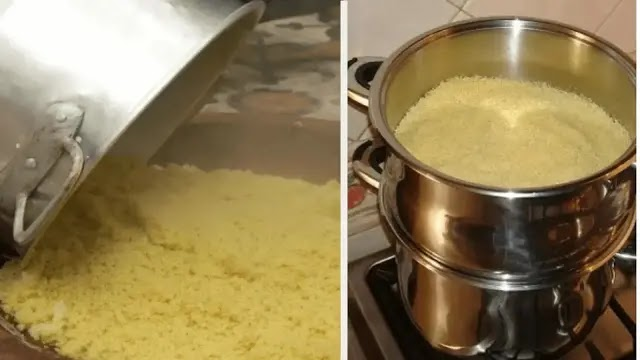 Steam cooking couscous