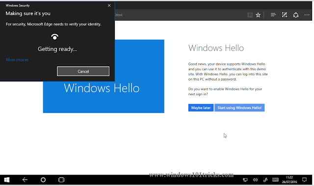 Windows Hello says hello to apps and websites