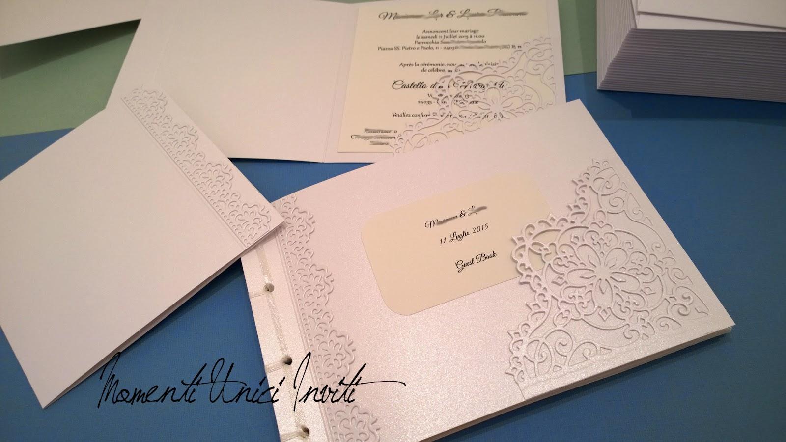 1 Le partecipazioni di M&L - con guest book in coordinatoGuest Book Partecipazioni intagliate Total White