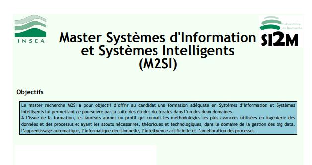 Master Systèmes d'Information et Systèmes Intelligents à l'INSEA Rabat 2020-2021