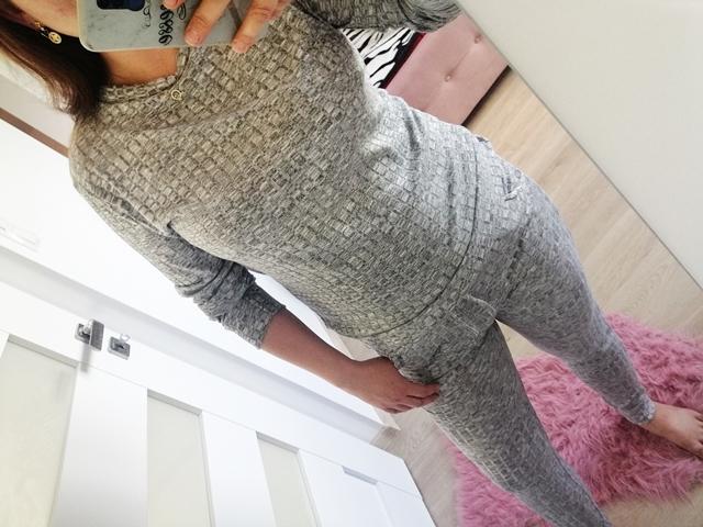 Grey Marl Ribbed Oversized Round Neck Jumper Side Pocket Skinny Joggers Loungewear Set - Kori
