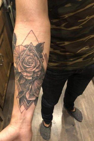 Rose Follower Forearm Tattoo for Men