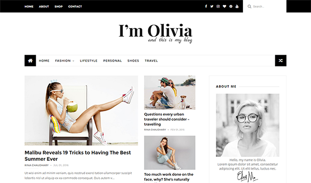 Olivia responsive Blogger template