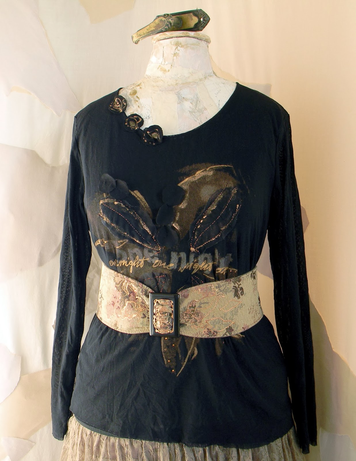 Restyled Altered Fashion Blouse with Vintage Inspired Waist Belt Black Stretch Tulle Blouse