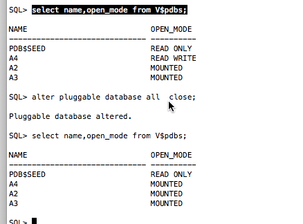pluggable database feature (shutdown, startup, and datafile issue