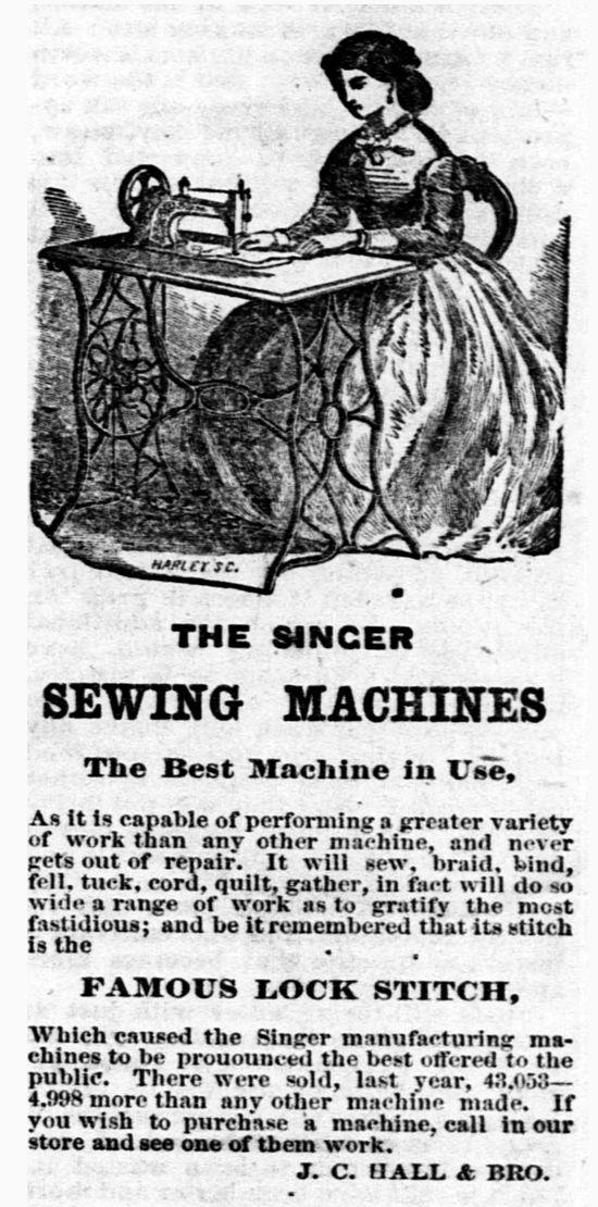 Singer sewing machines newspaper ad 1869