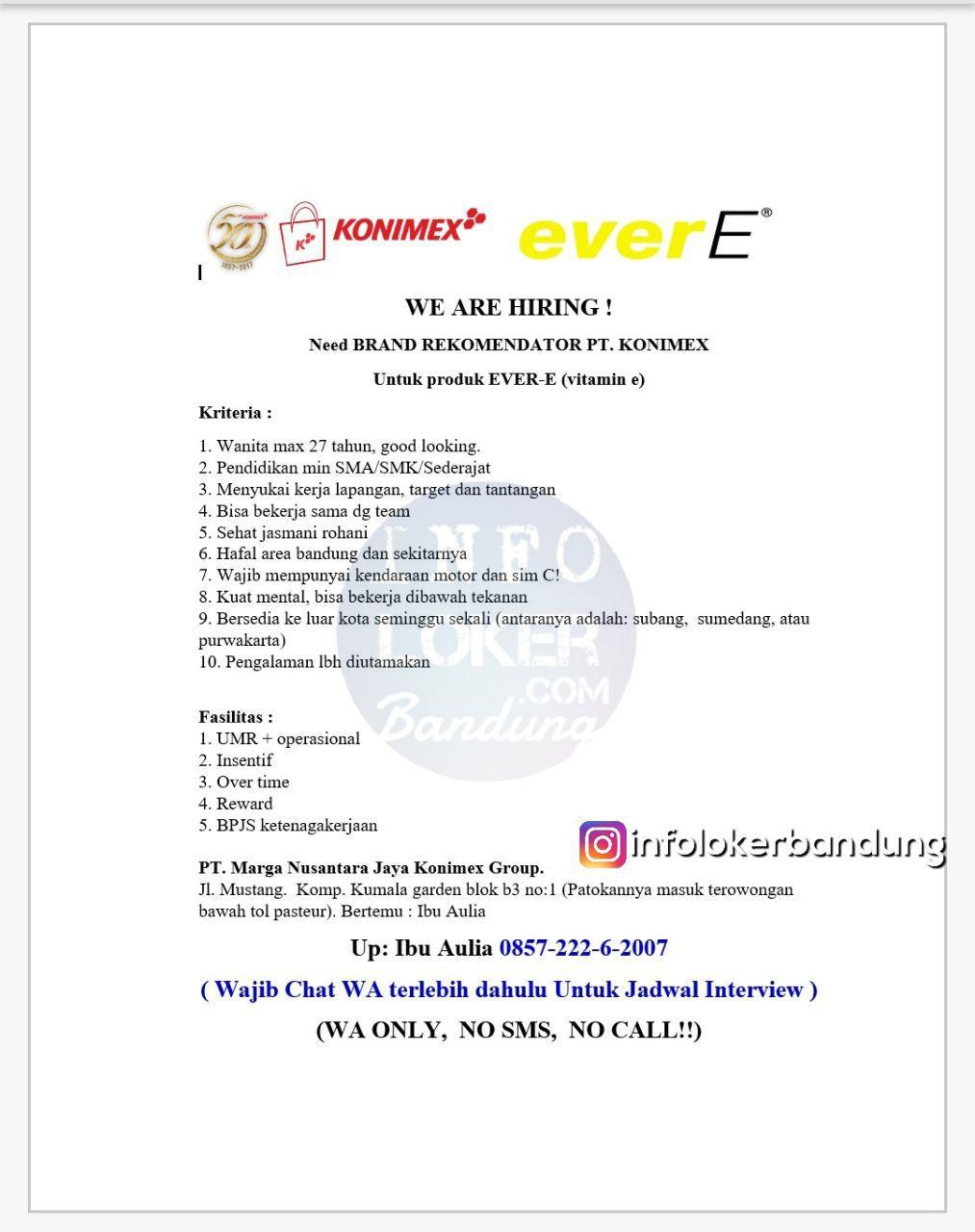 Lowongan Kerja Brand Recomendator PT.Konimex November 2017