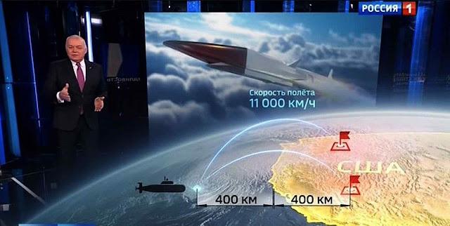 Dimitri Kiselyov, âncora da TV, mostra objetivos nos EUA a serem pulverizados (Captura de vídeo)