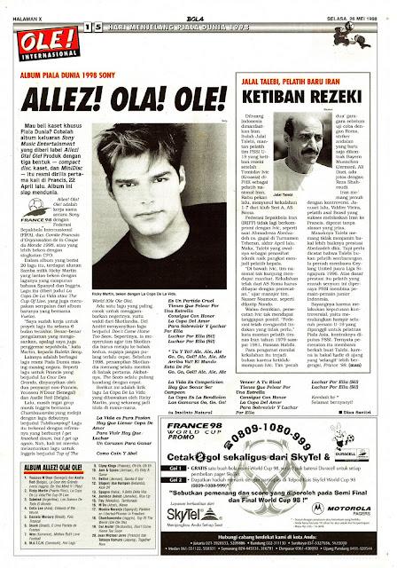 RICKY MARTIN WORLD CUP 1998 SONY ALBUM 1998 SONY ALLEZ! OLA! OLE!