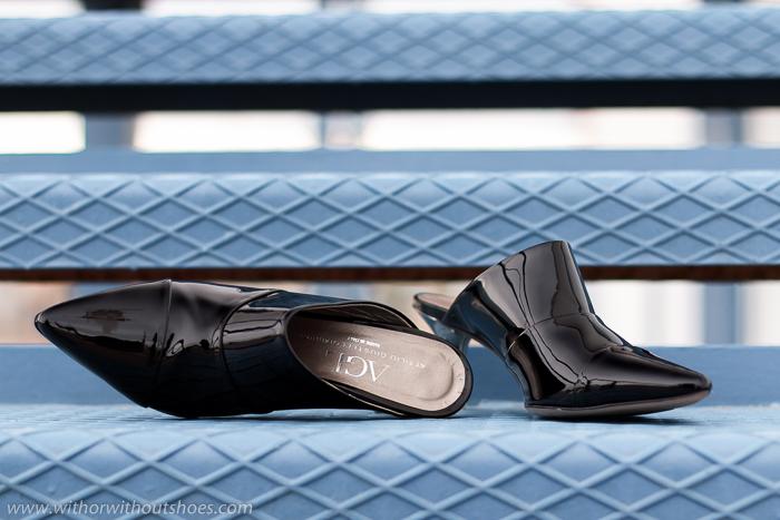 Zapatos Mules de charol negro con tacón metálico modelo Sharp de AGL made in Italy