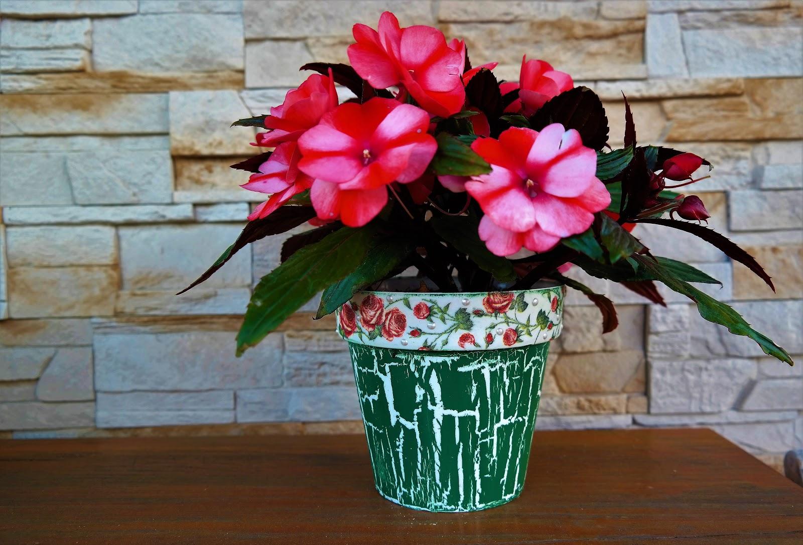 Doniczka z różyczkami - spękania jednoskładnikowe - DIY