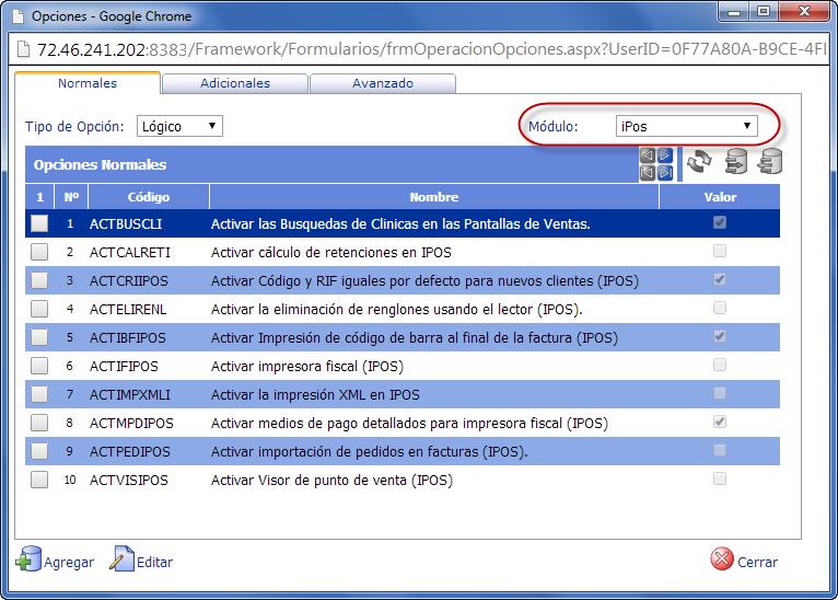 eFactory Punto de Ventas: Opciones de iPOS - Productos Web de eFactory: ERP/CRM, Nómina, Contabilidad, Punto de Venta, Productos para Móviles y Tabletas