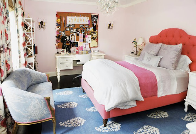orange pink and blue bedroom decor design