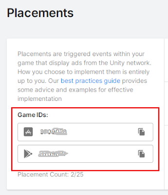 game ids in unity ads dashboard