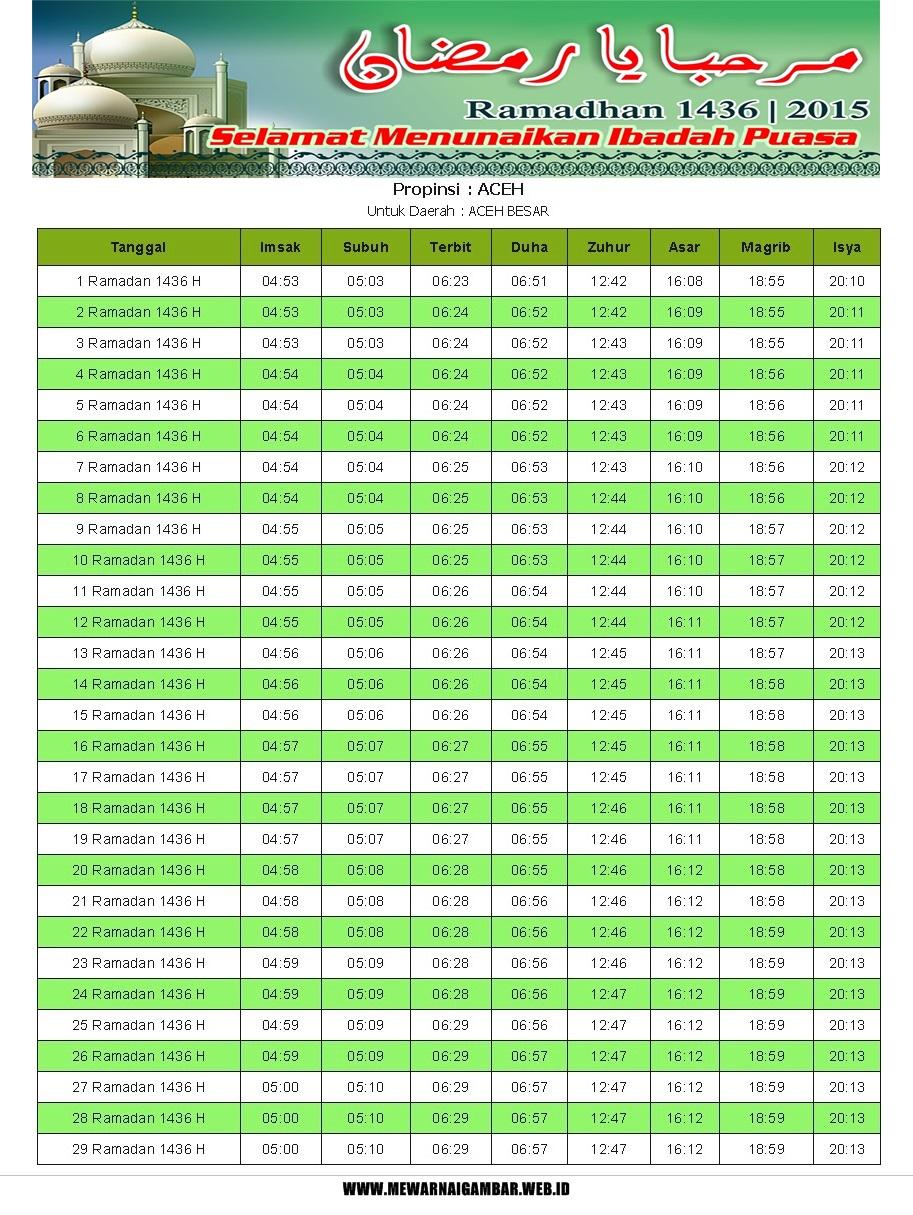 Jadwal Imsakiyah Ramadhan 2015 Provinsi Aceh | Mewarnai Gambar