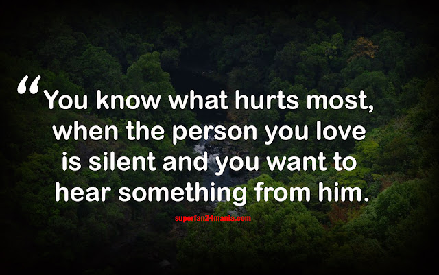 You know what hurts most, when the person you love is silent and you want to hear something from him.