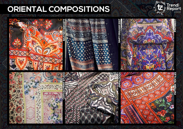 Textile design, print design, textile candy, trend forecasting, trend prediction, WGSN, premiere vision, printed fashion, fashion print, AW17-18, Autumn/Winter fashion trends, trend report, tc, oriental compositions, oriental inspired, oriental scarf, paisley scarf, global design, pattern mix, pattern clash, aboriginal scarf, aboriginal design, floral border, paisley