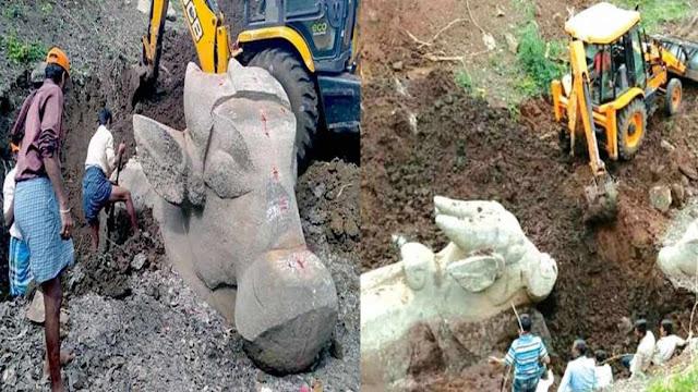सूखी झील की खुदाई में मिली प्राचीन भगवान शिव के वाहन नंदी की प्रतिमा, उमड़ा हुजूम