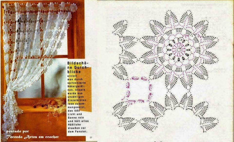 Cortina con estilo romntico con ganchillo  Crochet y Dos