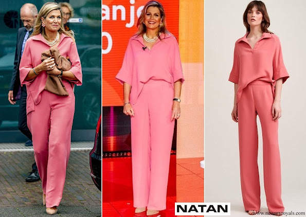 Queen Maxima wore Natan Mia Shirt and Motus wide leg in pink