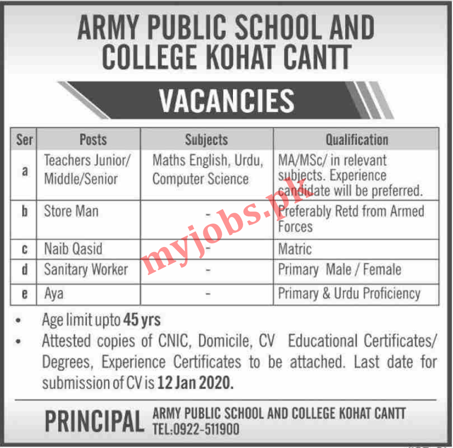 ARMY PUBLIC SCHOOL AND COLLEGE  VACANCIES 2020