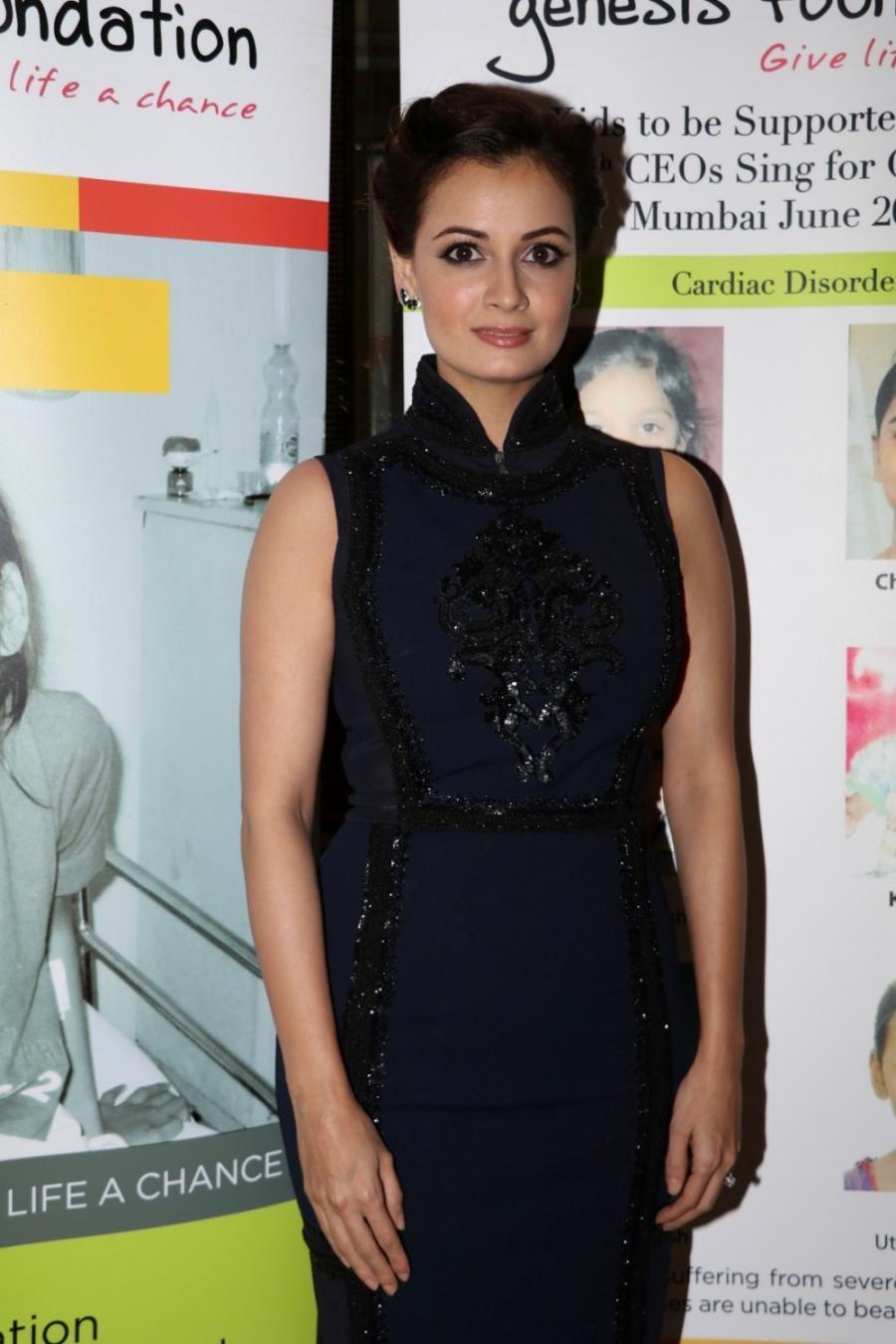 Bollywood Model Dia Mirza Stills In Black Dress