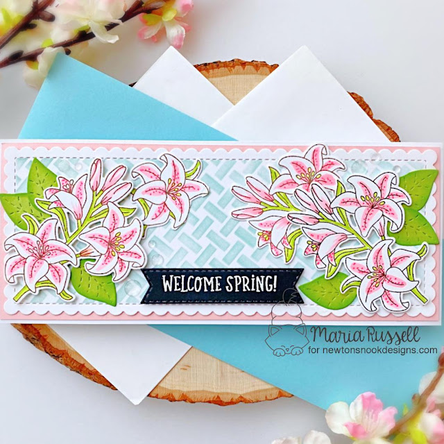 Welcome Spring Lily Card by Maria Russell | Easter Lily Stamp Set, Basketweave Stencil and Slimline Frames & Portholes Die Set by Newton's Nook Designs #newtonsnook