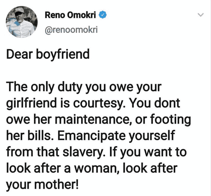 The only duty you owe your girlfriend is courtesy, you don't owe her maintenance – Reno Omokri tells men