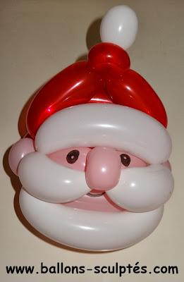 sculpture de ballons père Noël