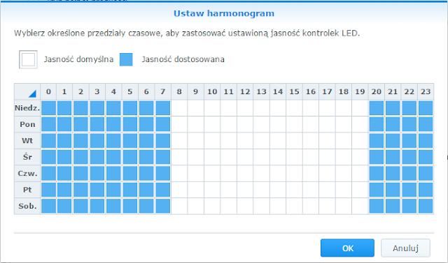 Harmonogram sterowania jasnością diod LED w Synology DS216j