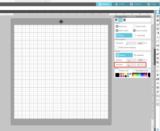 page setup panel, grid lines, silhouette studio, cameo 4, silhouette cameo mat