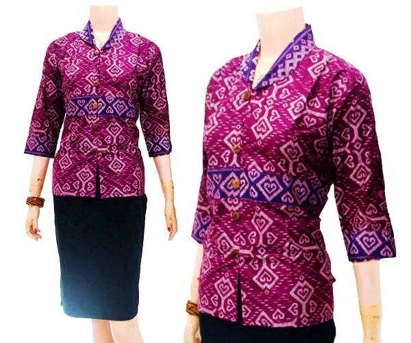 Model Blouse Batik Atasan Wanita Modern Untuk Kerja