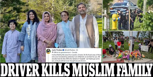 Sebuah pembunuhan kembali terjadi. Kali ini menimpa keluarga muslim di Kanada. Satu keluarga muslim di Selatan propinsi Ontarioa Kanada tewas saat mereka sedang menyerang. Korban terdiri dari seorang wanita berusia 74 tahun, seorang pria berusia 46 tahun, seorang wanita berusia 44 tahun dan seorang gadis berusia 15 tahun.
