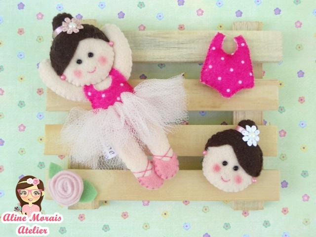 lembrancinha de maternidade nascimento bailarina rostinho de bailarina collant de bailarina de feltro barata preço bom