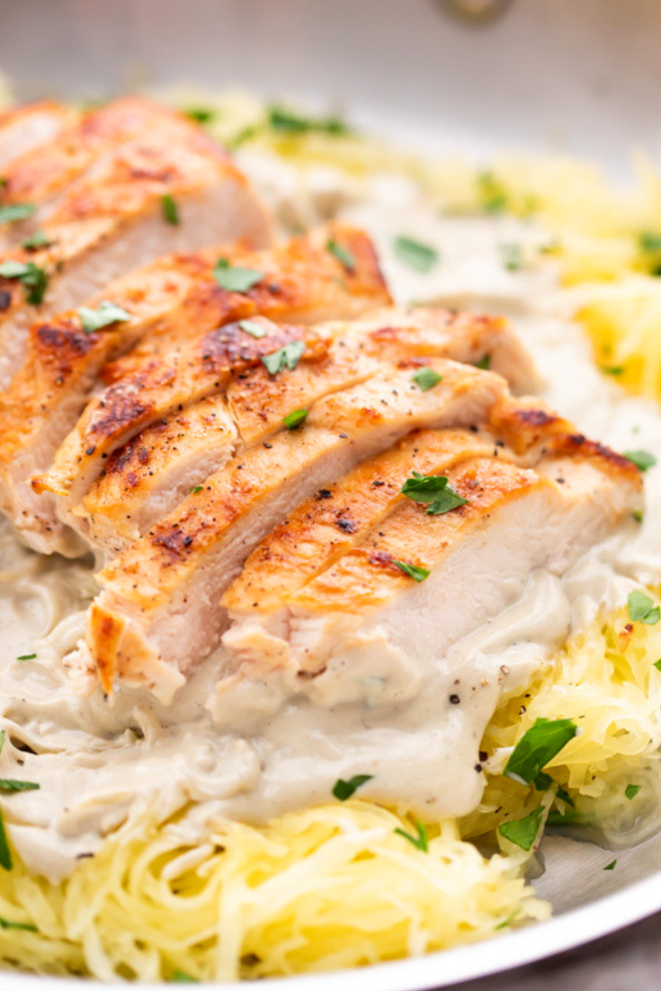 Healthy Chicken Alfredo with Spaghetti Squash (Whole30, Paleo, Dairy Free)