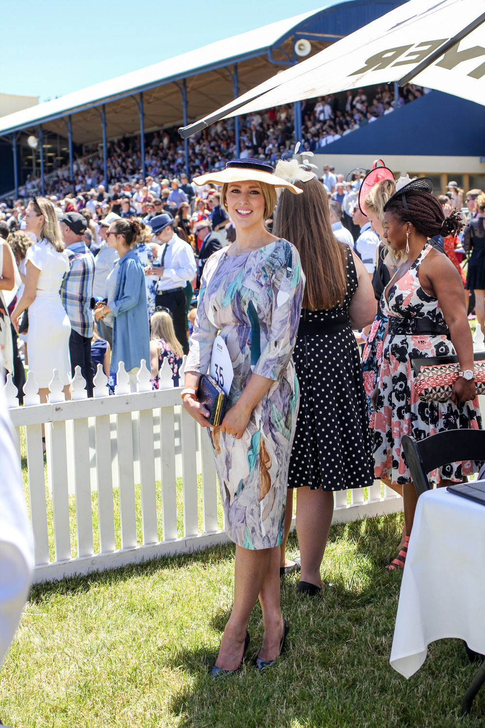 The Goldfields Girl at fashion on the field 2016 wearing h&m dress with navy vintage hat and bag