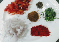 Chopped onion tomato cumin red chilli Cilantro pepper powder for soya protein veg burger recipe