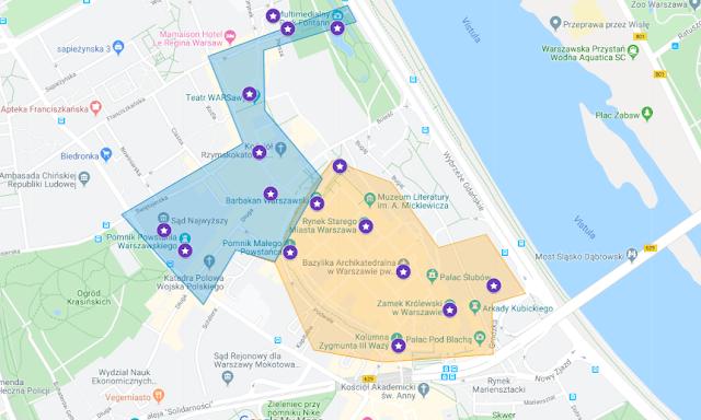 localización mapa casco antiguo varsovia