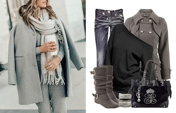 пальто, осень, мода, серый