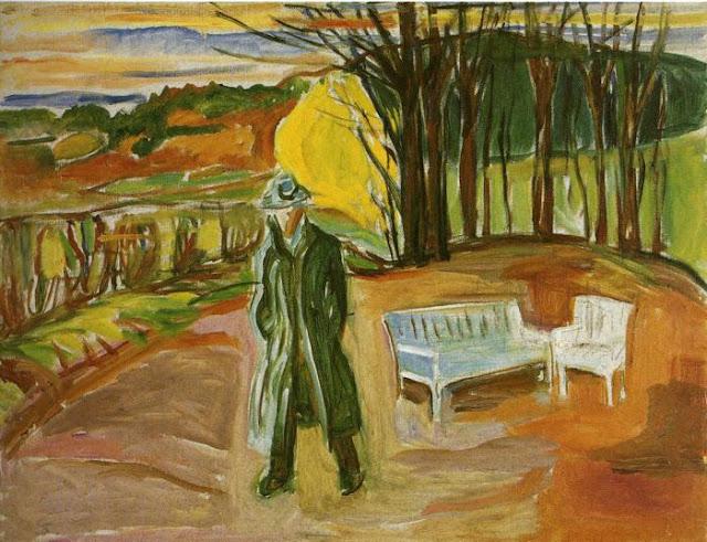 Эдвард Мунк - Автопортрет в саду, Экели. 1942