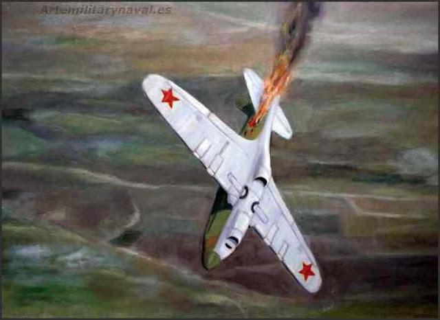 Oleo de un caza ruso lagg-3 derribado durante la Segunda Guerra Mundial
