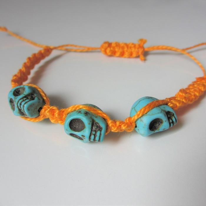 Bracelet macramé sugar skull
