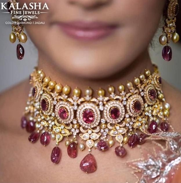 Diamond Ruby Drops Choker by Kalasha